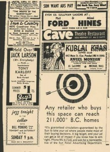newspaper advertisement for Cellar Club