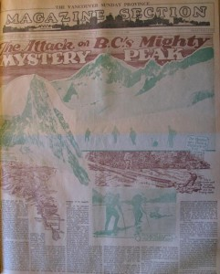 1926 Vancouver Province article about a mountaineering expedition to Mount Waddington