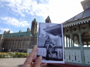 This photograph of Parliament Hill and its Centre Pavilion in the 1950s is juxtaposed against the present-day landscape. Courtesy: Dear Photograph.