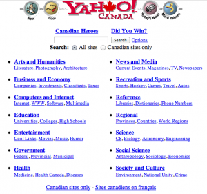 Yahoo! Canada as of 8 July 1997. It's like the Yellow Pages.