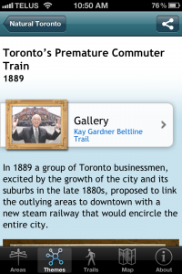 screen capture of Toronto in Time mobile app