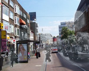 Utrecht, May 7, 1945 juxtaposed against modern Utrecht. Courtesy: Jo Hedwig Teeuwisse.