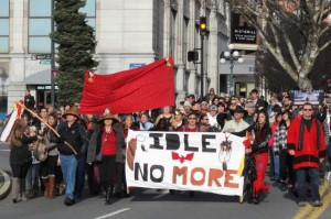 Idle no more protesters marching along Government Street in Victoria on December 21, 2012