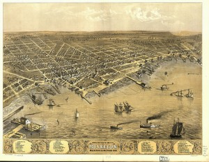 Bird's Eye View of Muskegon 1868.  Public Domain, Library of Congress.