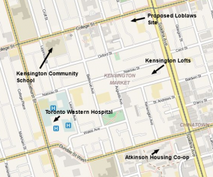 This map shows the market area today and the sites discussed in this post. Map tiles by openstreetmap.org.