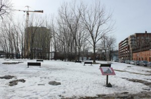 Original site of Church St-Ann, now a park surrounded by condo construction sites