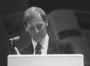 Speaking at Roy Thomson Hall in Toronto at the launch of the Junior Encyclopedia of Canada in September 1990.