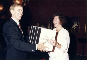 Presenting copies of the first edition to Minister Sheila Copps at the National Library in Ottawa, 1985.