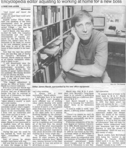 Profiled in the Edmonton Journal, 1991.