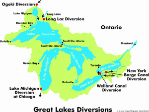 Illustration showing Great Lakes watershed and Great Lakes diversions. Wikimedia Commons © U.S. Army Corps of Engineers, Detroit District.