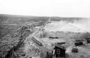 Roast yard near Victoria Mines, Sudbury 1898.  Greater Sudbury Historical Database.