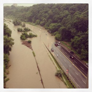 Flooded DVP from Bloor Street Viaduct. Photo by Vicki Laszlo