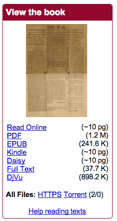 The Internet Archive Rocks, or, Two Million Plus Free