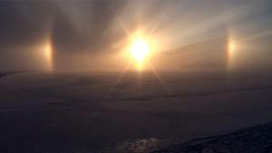 Photo taken on board the Canadian research icebreaker Amundsen, wintering in the Beaufort Sea.