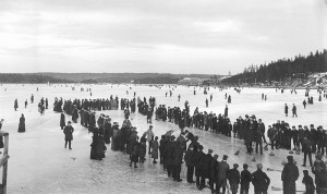 Curling on the Dartmouth Lakes, Nova Scotia, ca. 1897.  Public Domain.