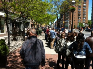 "Hundreds of people lined up to participate in ""Creating Toronto: The Story of the City in Ten Stops"" a Doors Open walking tour that took place six times over two days."