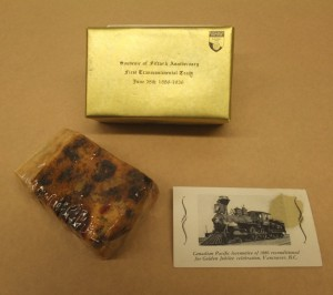 Figure 1: Canadian Pacific Railway commemorative fruitcake, 1936. Courtesy of the Bruce Peel Special Collections Library, University of Alberta.