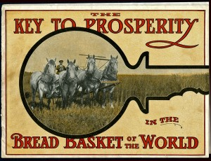 Figure 2: Canadian Northern Railway Company, The Key to Prosperity in the Bread Basket of the World, c. 1911. Courtesy of the Bruce Peel Special Collections Library, University of Alberta.