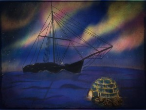An illustration for the film by my daughter Iona Fournier-Tombs – it illustrates the intercultural message, since an igloo is set up next to Amundsen's polar ship Gjoa.