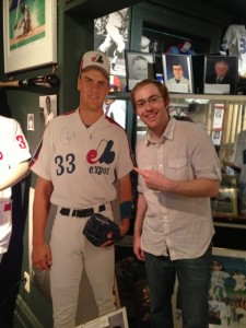 History Slam host Sean Graham with 'Larry Walker' at the Canadian Baseball Hall of Fame in St. Mary's, ON. September 4, 2013.