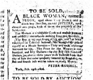 Slavery advertisement from Upper Canada Gazette, 10 February 1806.