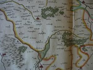 """Map 1 - A. Guiljelmum et I. Blaeu, """"Carte du Loudunais et du Mirebalais,"""" 1635, L 192, Série FI, Archives départementales de la Vienne (Poitiers)"""