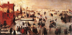 In the winter of 1619/20, travel by boat was impossible. Instead, the Dutch used skates and horse-drawn or even sail-propelled sleds. Hendrick Avercamp, Winter Scene, 1620.