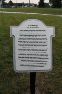 Plaque commemorating the designation of the Cliff Pilkey Waterfront Trail in Oshawa Ontario. Cliff Pilkey was a past UAW Local 222 President, President of the Ontario Federation of Labour, and MPP for Oshawa. Photo Credit: Robert T. Bell