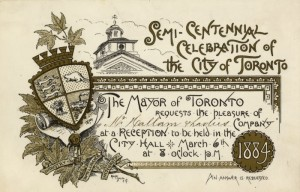 Invitation to Toronto's semi-centennial in 1884.