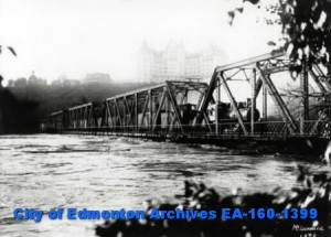 Train on the Low Level Bridge During Flood City of Edmonton Archives EA-160-1399