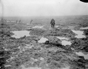 """Mud and barbed wire through which the Canadians advanced during the Battle of Passchendaele,"" November 1917. William Rider-Rider / Canada. Dept. of National Defence / Library and Archives Canada / PA-002165"