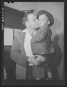 """Lakeview nursery school for children of working mothers, operated by the Board of Education at the tuition fee of three dollars weekly. Gary's father brings him to school because he goes to work later than his mother."" May 1943. Library of Congress, Prints & Photographs Division, FSA/OWI Collection, [LC-USW3-028414-D]"