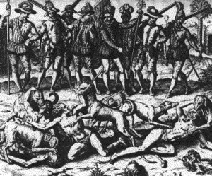 "An etching by the dutch artist Theodorus De Bry depicts the killing of Panamanian ""sodomites"" at the hands of Vasco Nunez de Balboa."