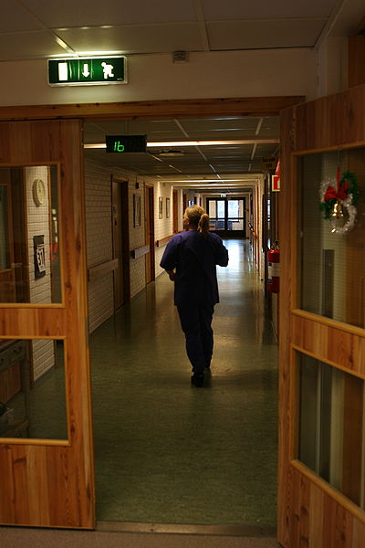 Nurse, Elderly Home Corridor. Wikimedia Commons. 31 December 2012.