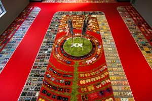 Walking With Our Sisters Installation in Shingwauk Auditorium.  Photo by Melody McKiver.