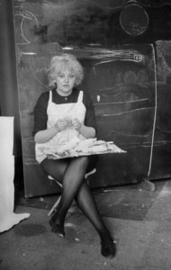 Joyce Wieland in her studio, ca. 1960. Tess Taconis / Library and Archives Canada / PA-137321