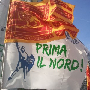 Flags of Venice and Lega Nord. Source: Wikipedia Commons.