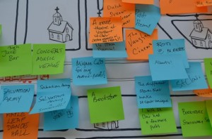 Detail of the St. Clair interactive map. Participants noted their most prominent memories of the area with an orange post-it note.