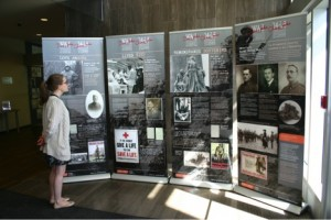 All four panels of the exhibit. The fourth panel provides background on the exhibit and information on the resources available at the Archives of Ontario.