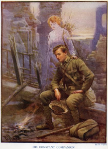 Harold H. Piffard, His Constant Companion.  Originally appeared in Canada in Khaki, no. 2 (London: The Pictorial Newspaper Co. for the Canadian War Records Office, 1917).