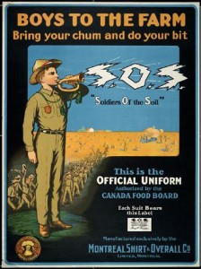 "Image 10: Soldiers of the Soil Poster – Caption: Posters calling ""Boys to the Farm"" encouraged youth across Canada to become a Soldier of the Soil. 22, 385 young men responded."