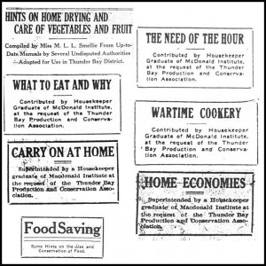 Image 11: Column headlines – Caption: Numerous newspaper columns (all written by Margaret Smellie) advised Lakehead women on ways they could contribute to the war effort in their kitchens.
