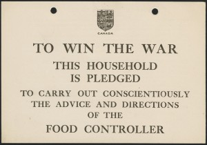 Image 5 : Food Pledge Card – Caption: Food pledge cards were placed in prominent places to advertise the patriotic support of households as well as to encourage others to participate in food control