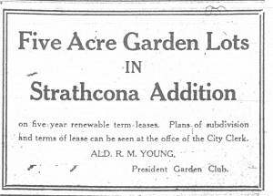 Image 7: Garden lot newspaper ad - caption: In Port Arthur, the Garden Club advertised the availability of garden space, Port Arthur Daily News Chronicle, 30 March 1918.