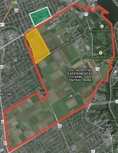 Central Experimental Farm (red), the Civic Hospital (green), and the proposed 60 acre grant (yellow) prepared by Pete Anderson using GoogleMaps.