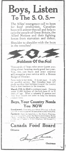 Image 9: newspaper ad – Caption: the Canada Food Board advertised for young men to join up as Soldiers of the Soil, Fort William Daily Times Journal, 18 march 1918.