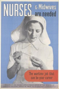 Midwife poster created by British wartime artist during WWI.  Imperial War Museum, Creative Commons License.