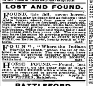 "Found: ""Where the Indians Starved to Death"" about the 1st of October, a white mare."