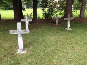 Five grave markers