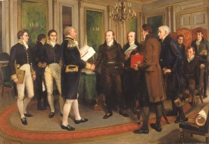 Amédée Forestier, Signing of the Treaty of Ghent, Christmas Eve, 1814. No Anishinaabeg Present.